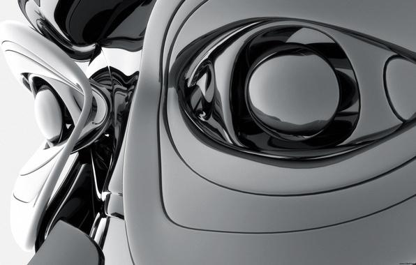 3d digital art робот глаза сталь обои фото