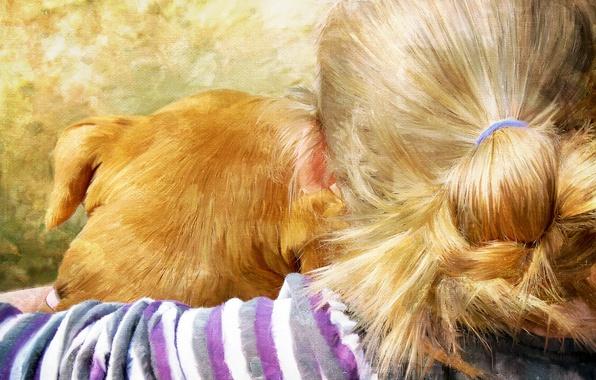 Картинка рисунок, собака, девочка