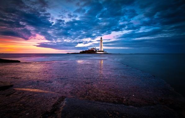 Картинка море, небо, рассвет, побережье, маяк, Англия, горизонт, St. Marys Lighthouse