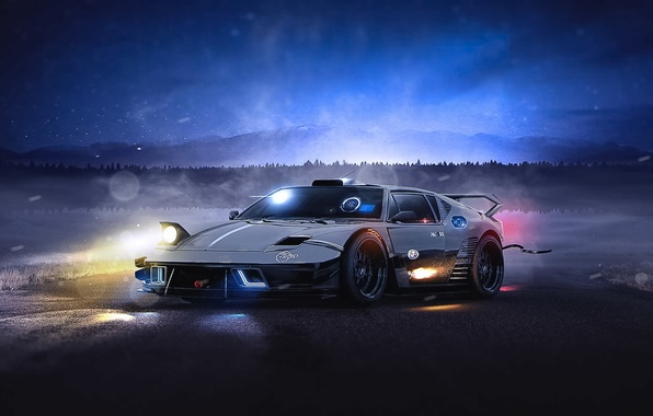 Картинка Dark, Car, Front, Night, Old, Future, Supercar, De Tomaso Pantera, Mod