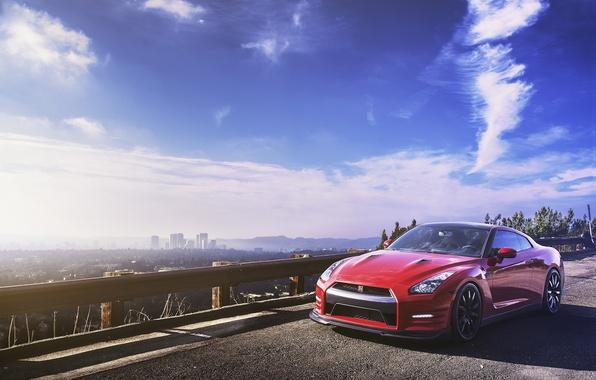 Картинка небо, горизонт, red, Nissan, GT-R, мегаполис