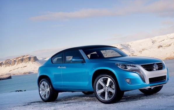 Картинка зима, синий, Volkswagen