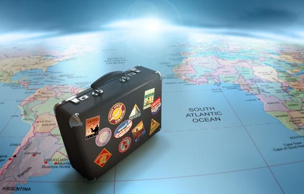Картинка карта, чемодан, путешествие, глобус