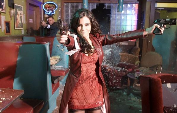 Картинка девушка, пистолет, обои, грабеж