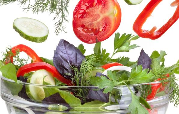 Картинка зелень, огурец, укроп, помидор, петрушка, салат, паприка, pepper, cucumber, tomato, Greens, basil, parsley, базилик, lettuce, ...