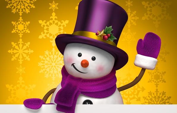 Картинка зима, снежинки, жёлтый, праздник, графика, рождество, шляпа, снеговик, christmas, new year, цилиндр