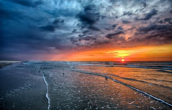 Картинка песок, море, пляж, небо, солнце, пейзаж, закат, природа, океан, рассвет, beach, sky, sea, ocean, landscape, …