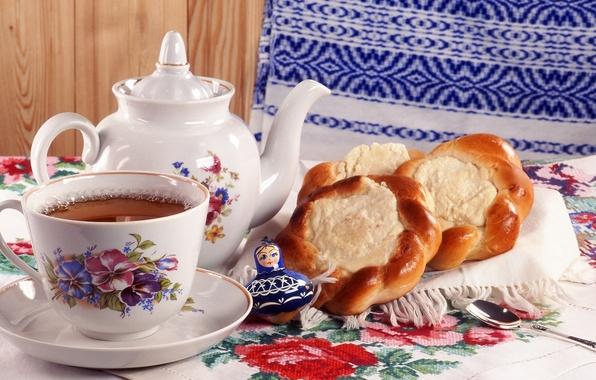 Картинка фото, чай, ложка, кружка, салфетка, заварник, неваляшка, с творогом, ватрушки