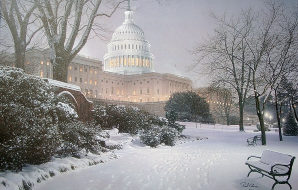 Фото обои зима, свет, снег, парк, освещение, холм, фонари, Вашингтон, ёлка, USA, США, Капитолий, живопись, скамья, park, ...