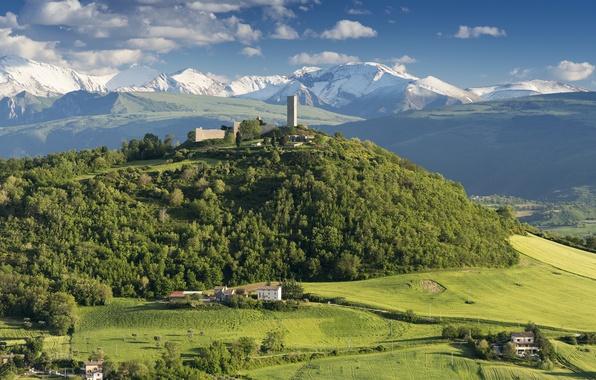Картинка небо, облака, горы, долина, Италия, Марке, Castello di Pitino