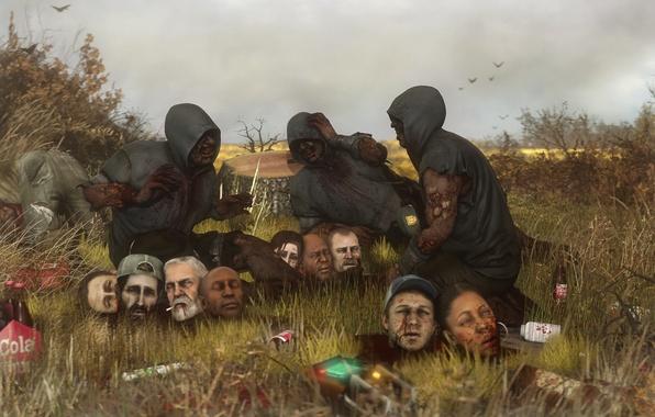 Картинка смерть, головы, Francis, Zoey, valve, left 4 dead, fan art, Ellis, hunter, Louis, Rochelle, Nick, …