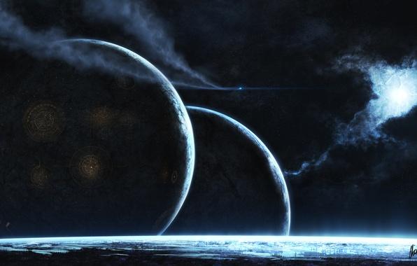 Картинка космос, туманность, город, огни, след, звезда, планеты, корабль, свечение, арт