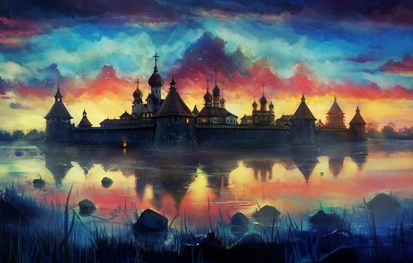 Картинка закат, птицы, озеро, арт, монастырь, нарисованный пейзаж