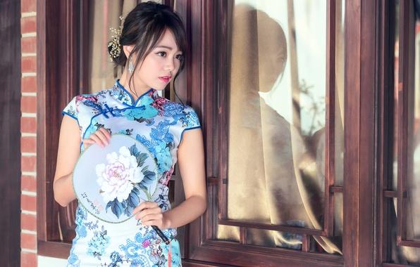 Картинка взгляд, стиль, платье, азиатка
