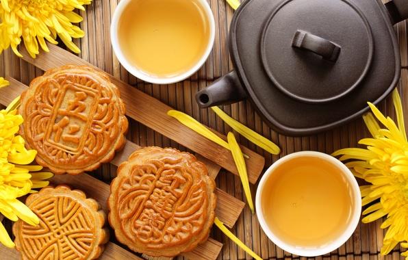 Картинка цветы, чай, чайник, печенье, чаепитие, чашки, пирожное, хризантемы, десерт, выпечка, китайский, циновка