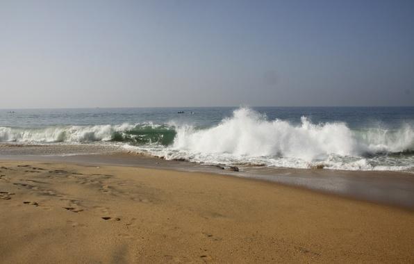 Картинка море, пляж, пена, природа, фон, обои, волна