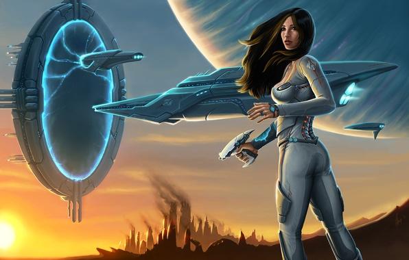 Картинка оружие, корабль, планета, Девушка, портал, костюм