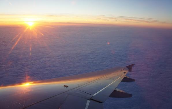 Картинка небо, закат, Солнце, крыло, полёт, самолёт