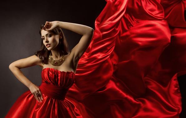 Картинка лицо, Девушка, руки, красное платье