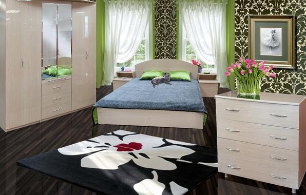 Картинка дизайн, дом, стиль, комната, интерьер, спальня