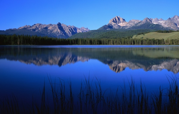 Картинка синий, природа, озеро, гора, nature
