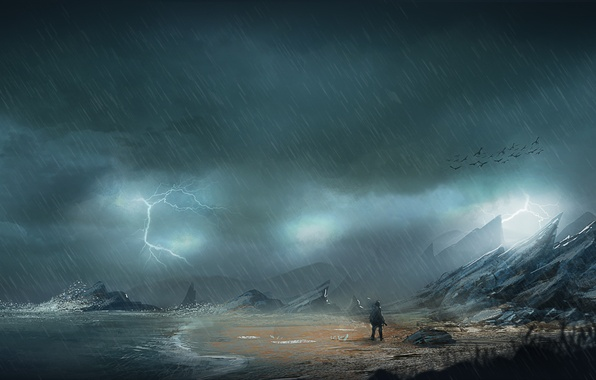 Картинка море, гроза, птицы, камни, дождь, скалы, побережье, молния, человек, арт