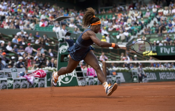 Картинка USA, Удар, Теннис, Williams, Tennis, Roland Garros, kick. Serena, Ролан Гарос, ВТА, Серена Уильямс, WTA, …
