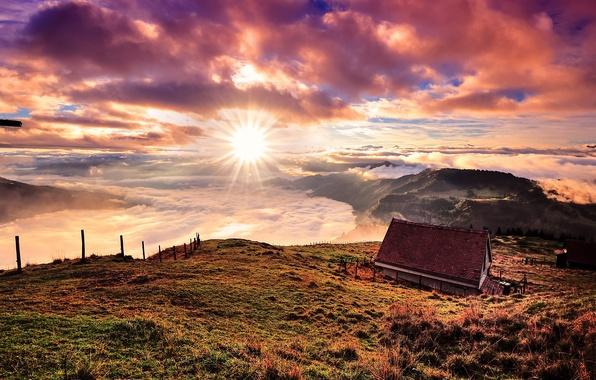 Картинка солнце, облака, горы, дом, Швейцария