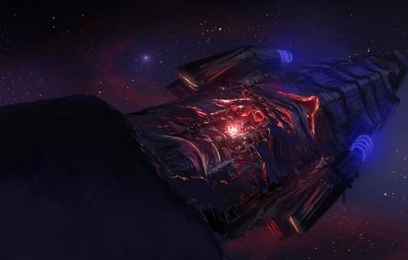 Картинка энергия, космос, звезды, корабль, арт, космический
