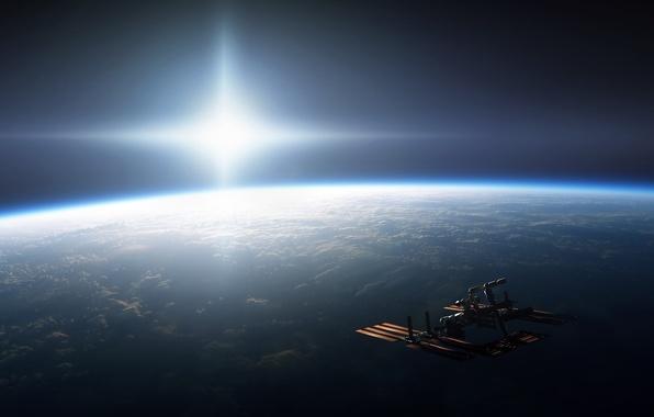 Картинка солнце, свет, планета, мкс, Космос, Земля, яркость, международная космическая станция