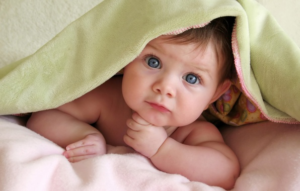 Картинка взгляд, ребенок, малыш, голубые глаза