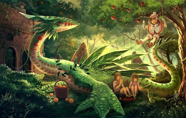 Картинка деревья, радость, природа, дети, дракон, аниме, арт, фрукты, eikura, matti