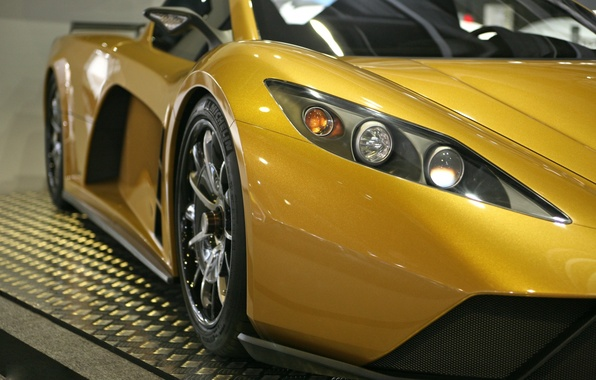 Картинка дорога, жёлтый, трасса, фара, суперкар, 2012, United States, Hybrid, Supercar, Motion, Кеплер, Kepler, Моушн