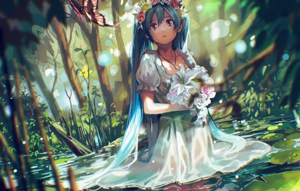 Картинка вода, девушка, цветы, природа, бабочка, букет, аниме, слезы, арт, vocaloid, hatsune miku, венок, tsukun112