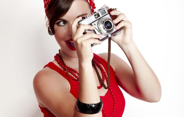 Картинка девушка, ретро, настроение, современный, фотоаппарат, красивая, пин-ап, style, pin-up, щелк, вас, винимание, снимаю, фотографическое