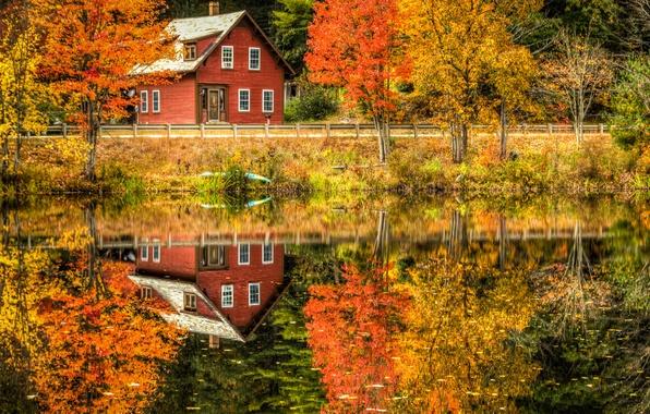 Картинка дорога, осень, лес, листья, деревья, пейзаж, отражение, река, вилла, дома, Природа, house, forest, Nature, архитектура, …