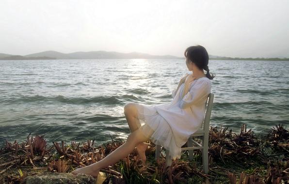 Картинка море, девушка, берег