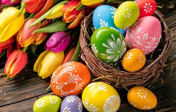 Картинка цветы, яйца, весна, Пасха, тюльпаны, flowers, tulips, spring, Easter, eggs, decoration, Happy
