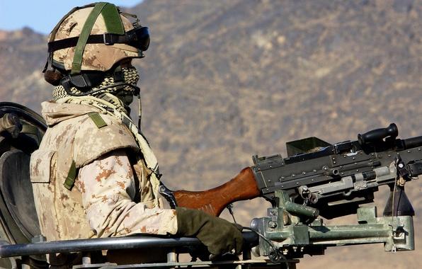 Картинка оружие, солдат, экипировка, пулемёт