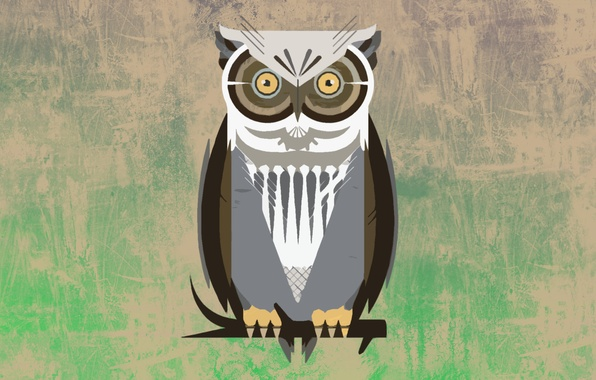 Картинка сова, птица, обои, vector, вектор, ветка, art, Owl