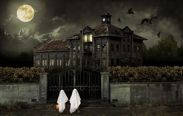 Картинка Halloween, ДЕТИ, НЕБО, ОБЛАКА, ДОМ, НОЧЬ, ЛУНА, БЕЛАЯ, ТУЧИ, ЗДАНИЕ, СТАЯ, ПТИЦЫ, ЗАБОР, КАЛИТКА, ВОРОНЫ, …