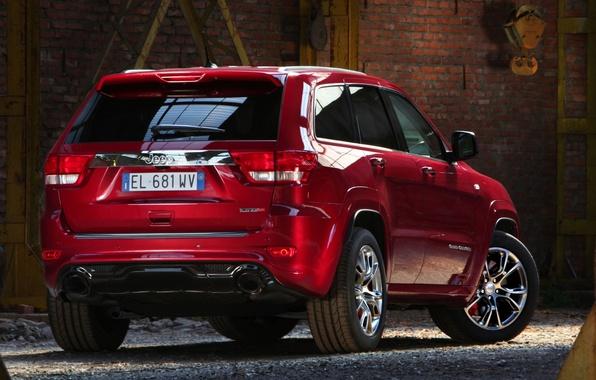 Картинка красный, Джип, SRT8, вид сзади, Jeep, СРТ8, Grand Cherokee, Гранд Чероке