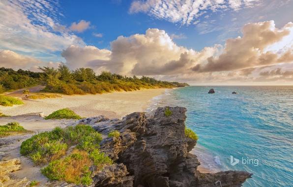 Картинка море, пляж, облака, природа, камни, Уорвик Лонг-Бей, Бермудские острова