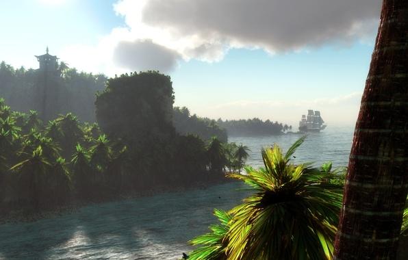 Картинка пейзаж, тропики, река, пальмы, корабль, парусник, арт, ствол, klontak