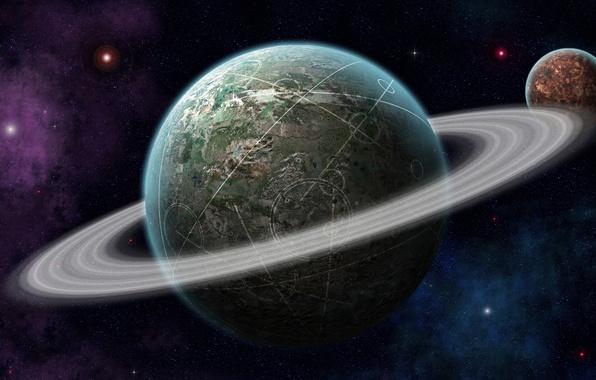 Картинка космос, звезды, линии, круги, планета, кольца