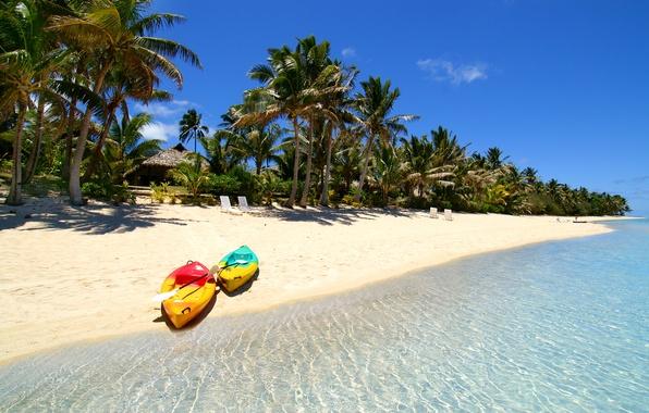Картинка море, тропики, пальмы, лодка, остров, мальдивы