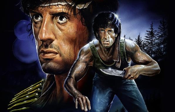 Картинка рисунок, арт, боевик, Сильвестр Сталлоне, Sylvester Stallone, Джон Рэмбо, Рэмбо: Первая кровь, First Blood