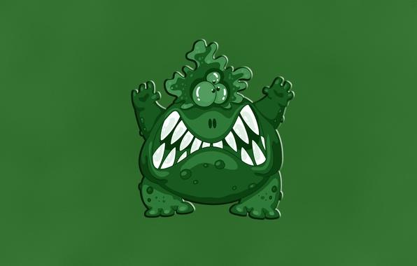 Картинка зеленый, green, монстр, злой, monster, зубастый, бородавочный, трехглазый