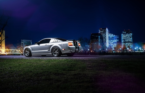 Картинка Mustang, Ford, Dark, Muscle, Car, Downtown, American, Rear, Nigth