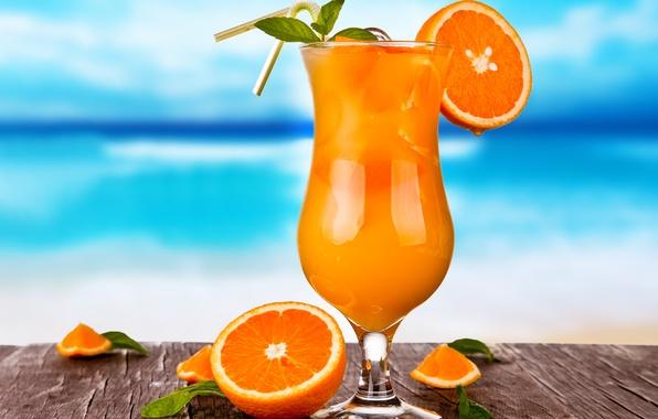 Картинка лед, бокал, апельсины, сок, коктейль, напиток, цитрусы, фреш